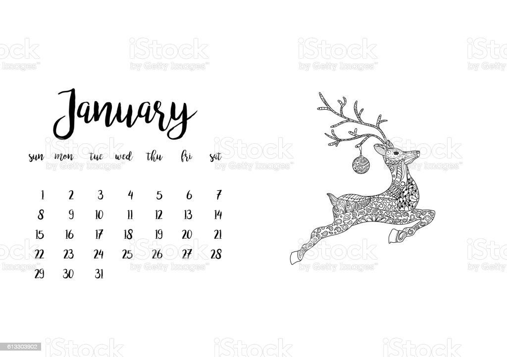 desk calendar template for month january week starts monday