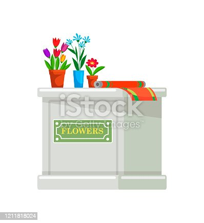 Desk counter with potted flowers blossom present wrapping paper in floristic shop. Florist profession. Workplace for saleswoman. Reception for seller. Table for sale plants. Vector illustration