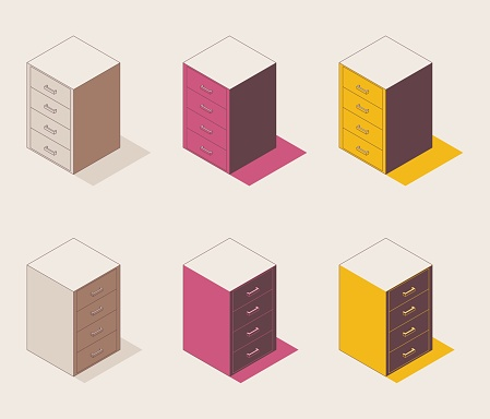Desk high pedestal drawers outline isometric collection in brown, pink and yellow with shadows