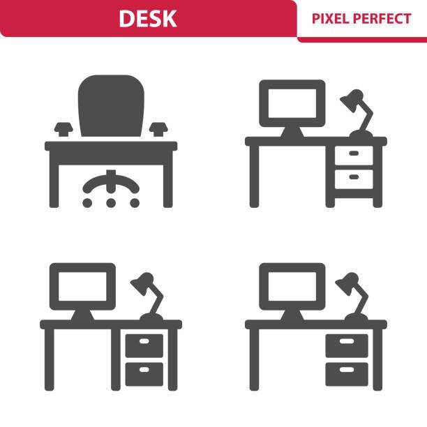 bildbanksillustrationer, clip art samt tecknat material och ikoner med skrivbord ikoner - bord