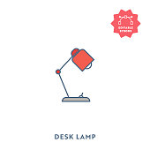 Desk Lamp Icon with Editable Stroke and Pixel Perfect.