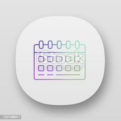 Planejador de mesas, ícone do aplicativo de calendário de parede. Interface de usuário UI/UX. Aplicativo web ou móvel. Ilustração isolada do vetor de agendadores de negócios. Escritório, acessório caseiro. Gerenciamento de tempo, símbolo de plane
