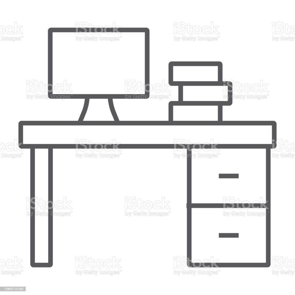 - Desk Thin Line Icon Furniture And Office Table Sign Vector