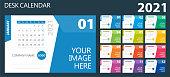 istock 2021 Desk Wall Calendar. Week starts on Monday 1272256292
