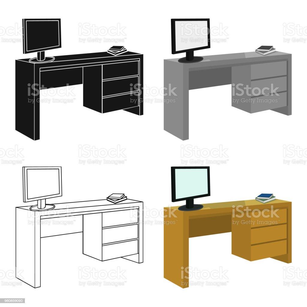 Ein Schreibtisch Mit Einem Computer Und Bücher Möbel Und Interieur