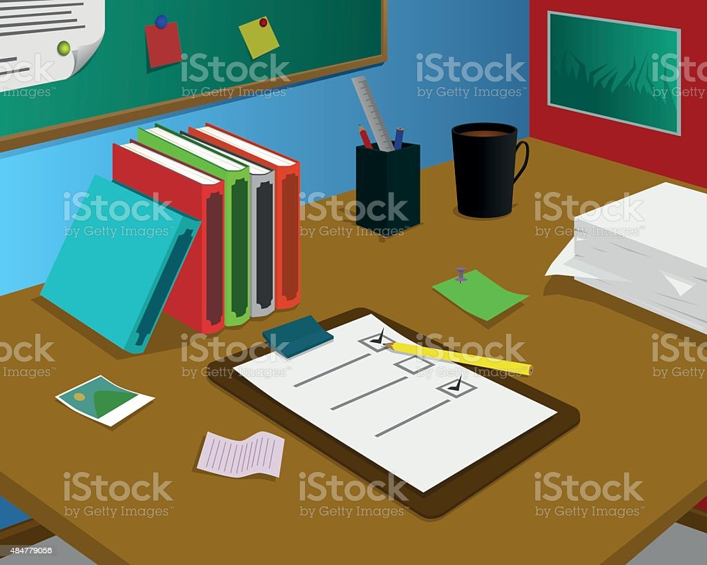 Desk with checklist paper vector art illustration