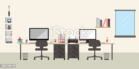 istock desk with computer and other things, vector 502148176