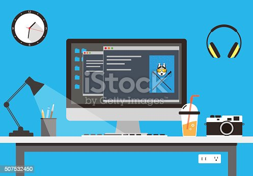 istock desk with computer and other things, vector 507532450