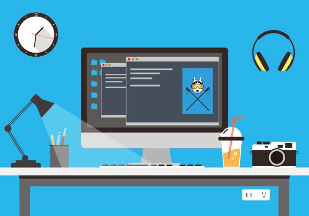 ilustrações, clipart, desenhos animados e ícones de mesa de trabalho com computador e outras coisas, vetor - carteira