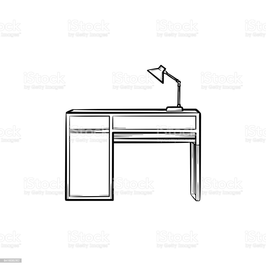 Prima Skrivbord Med Lampa Hand Ritad Skiss Ikon-vektorgrafik och fler GM-91