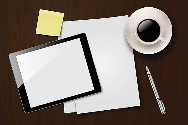Desk with papers, digital tablet, sticky notes, coffee and pen. vector art illustration