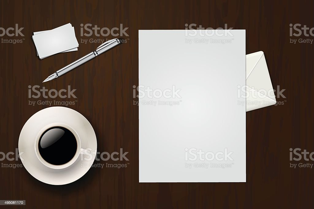 Bureau Avec Feuilles De Papier Cafe Carte Visite Stylo Enveloppe