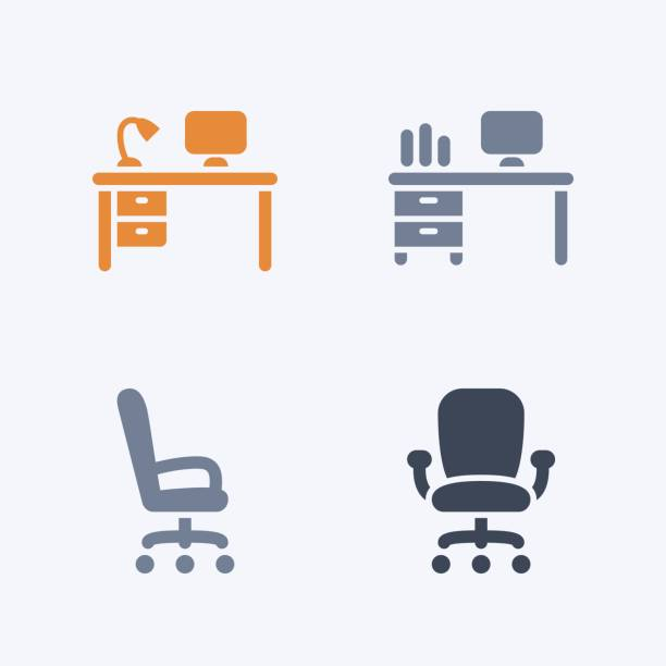 Desks & Chairs - Carbon Icons A set of 4 professional, pixel-aligned icons designed on a 32 x 32 pixel grid. office chair stock illustrations