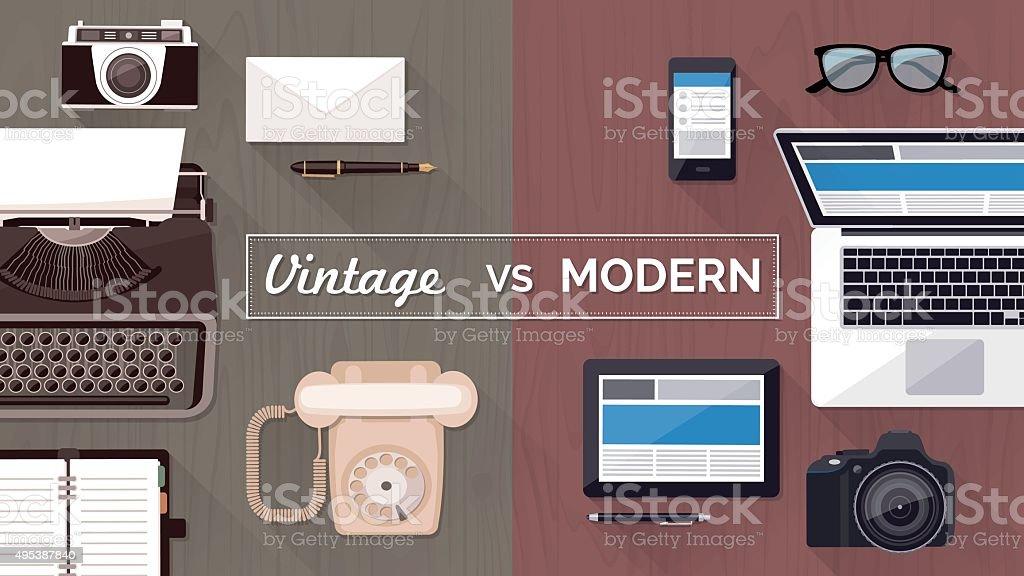 Desktop and devices evolution vector art illustration