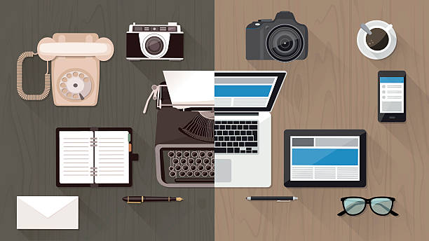 Desktop and devices evolution Work desktop and devices evolution, from typewriter to keyboard, business and communication technology evolution and improvement concept obsolete stock illustrations