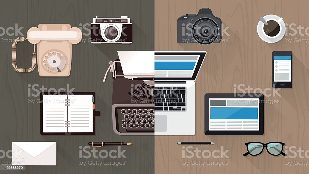 Desktop and devices evolution vector art illustration