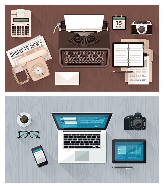 bildbanksillustrationer, clip art samt tecknat material och ikoner med desktop and devices evolution - det förflutna