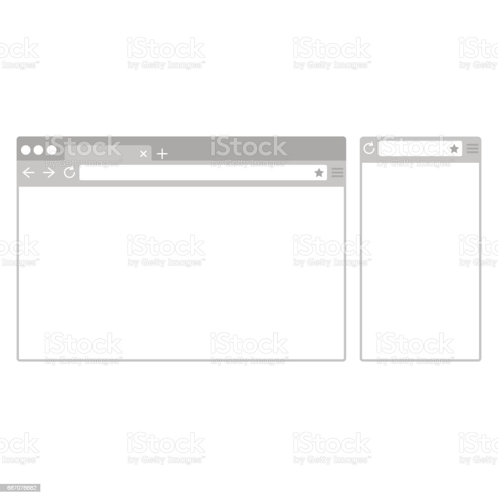 Desktop and mobile phone browser windows. Different devices web browser in flat design style vector art illustration