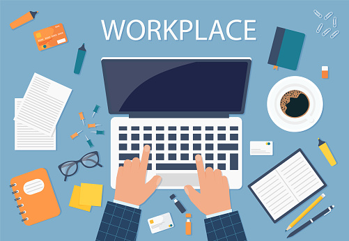 Desktop background of management and IT workplace. Top view of a table, laptop, folder, documents, notepad, business card, books, coffee, business, organization Eps 10