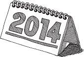 Desktop Calendar 2014 Drawing