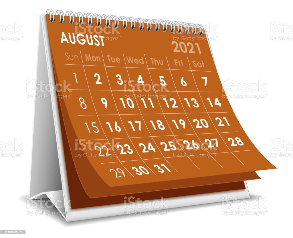 Desktop Calendar August 2021 Illustration Stock Illustration