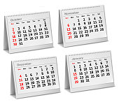 Desktop calendar  October, November, December,  January. Vector illustration.