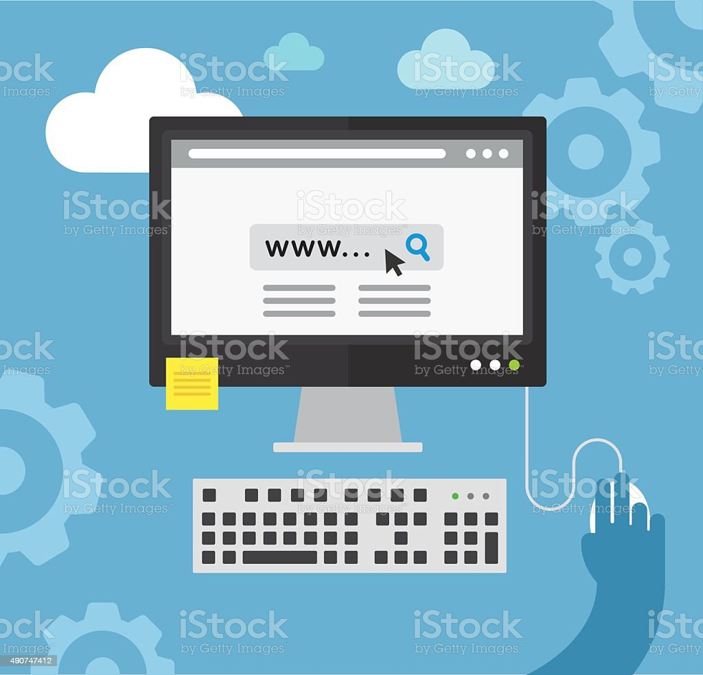 Desktop cloud computing vector art illustration