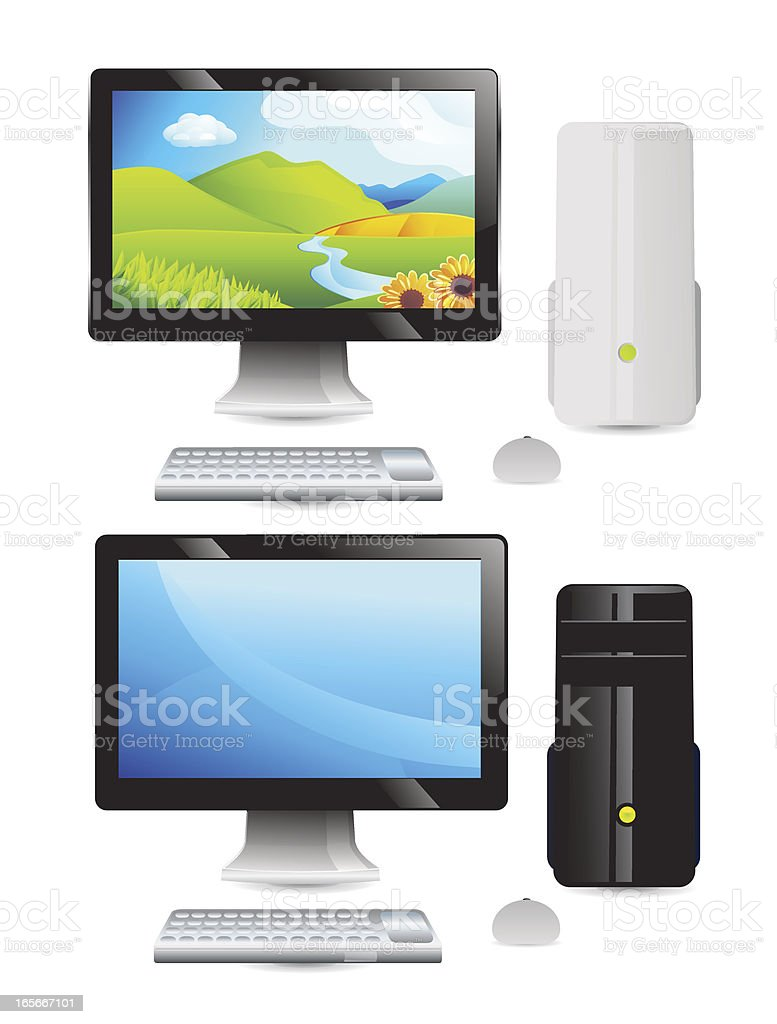 Desktop Computer Displays vector art illustration