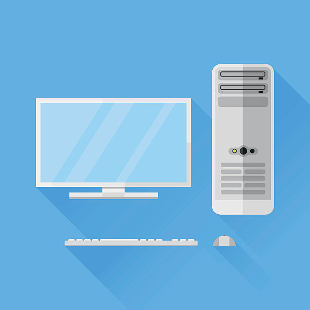 Desktop computer flat icon vector art illustration