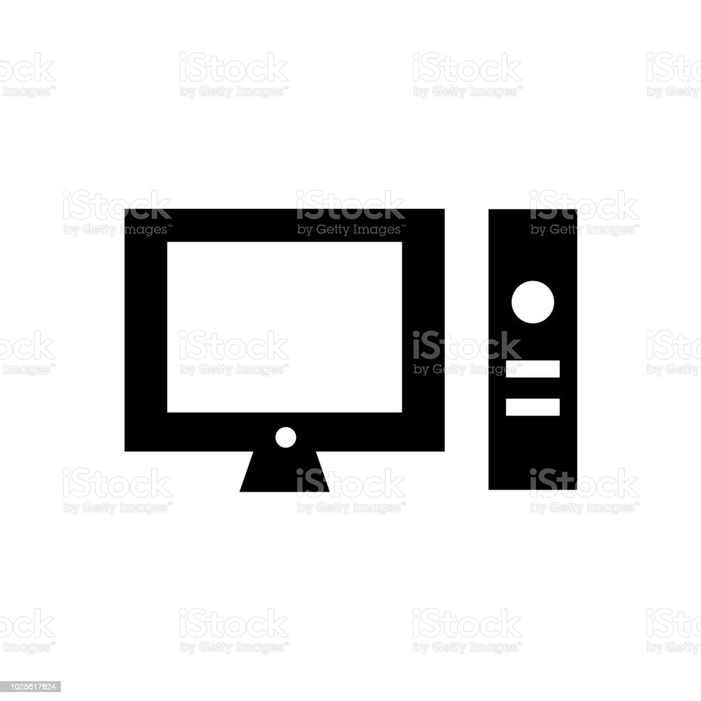 desktop computer icon vector sign and symbol isolated on white