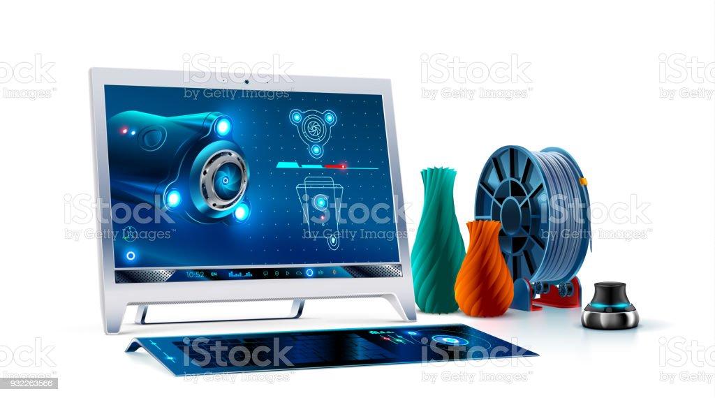 Ilustración de Monitor De Computadora De Escritorio Con Teclado Y ...
