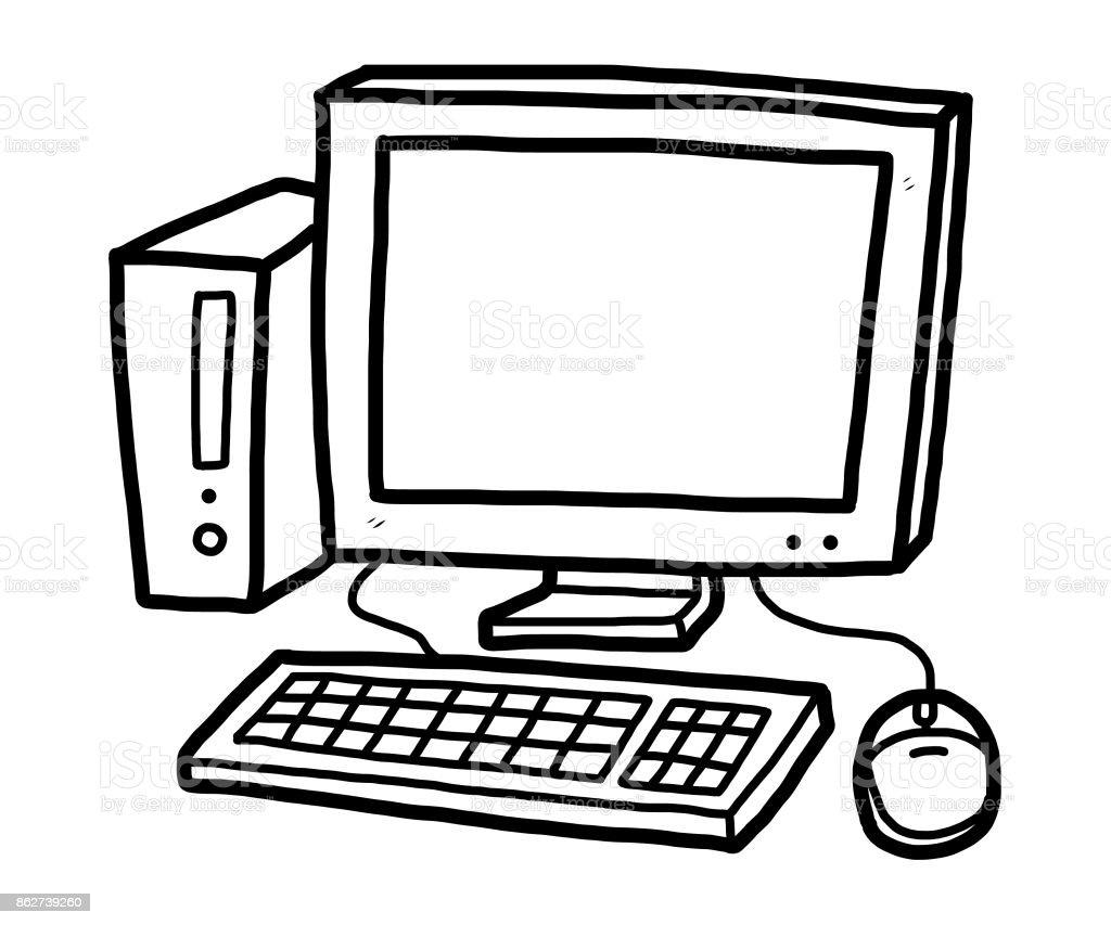 Computer Cartoon Computer Monitor Cpu插圖和矢量圖形 Istock