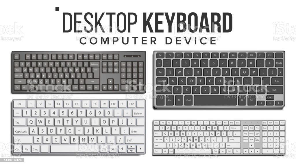 Desktop Keyboard Set Vector. Wireless Modern Plastic Tool. Top View. Isolated On White Illustration