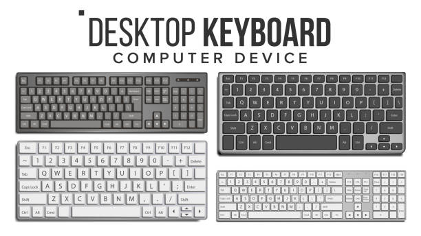 desktop keyboard set vector. wireless modern plastic tool. top view. isolated on white illustration - computer keyboard stock illustrations, clip art, cartoons, & icons