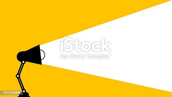 istock Desktop lamp lighting white space. Creative thinking ideas brain innovation concept 1272340931
