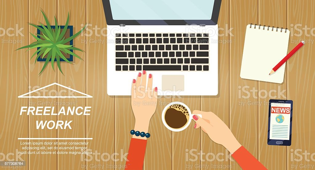 Desktop mix on a wooden table background.Vector flat illustration ベクターアートイラスト