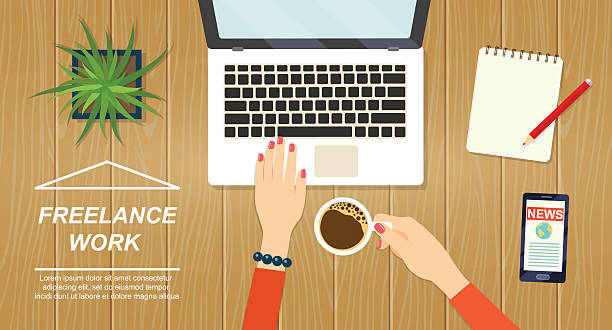 desktop mix on a wooden table background.vector flat illustration - フリーランス点のイラスト素材/クリップアート素材/マンガ素材/アイコン素材