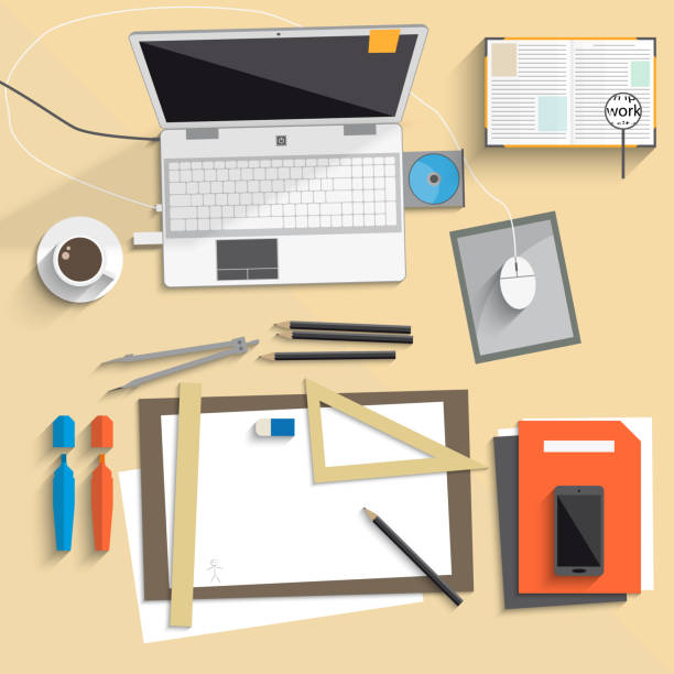 desktop-notebook technik board flach - filzarbeiten stock-grafiken, -clipart, -cartoons und -symbole
