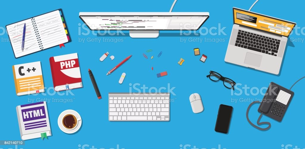 Desktop of programmer or coder vector art illustration
