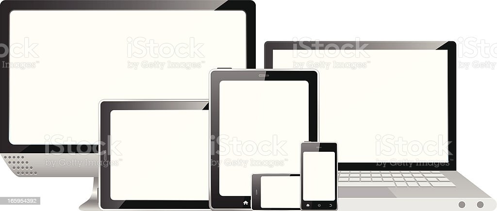 Desktop PC, laptop, tablet and smart phone on white background royalty-free stock vector art