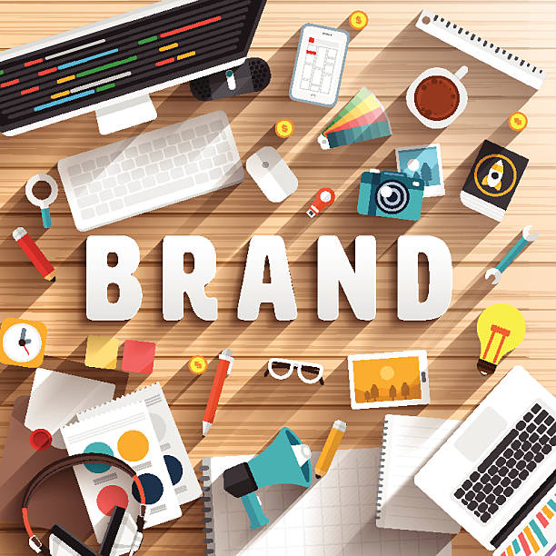 デスクトップの仕事にブランドを表示 - 旅行代理店点のイラスト素材/クリップアート素材/マンガ素材/アイコン素材