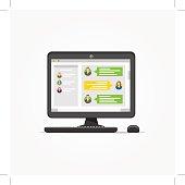 Desktop with messenger application vector illustration
