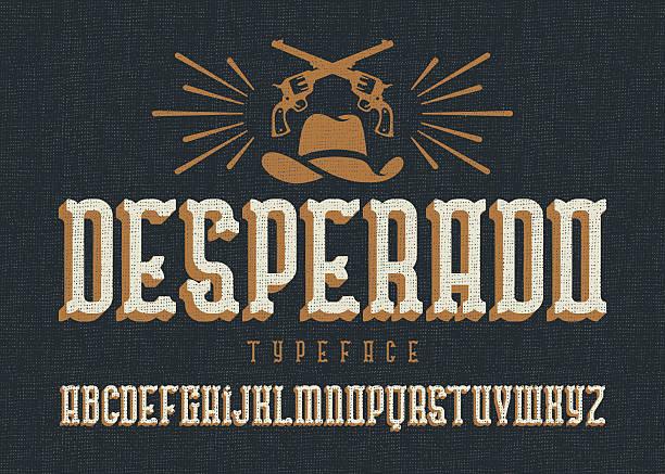 """""""desperado"""" typeface. - rustik stock illustrations"""