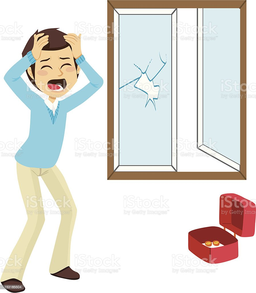Desperate Burglary Victim vector art illustration