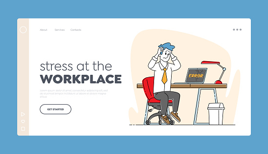Desperate Businessman and Destroyed Laptop Gadget Landing Page Template. Office Worker Male Character Sit at Work Desk