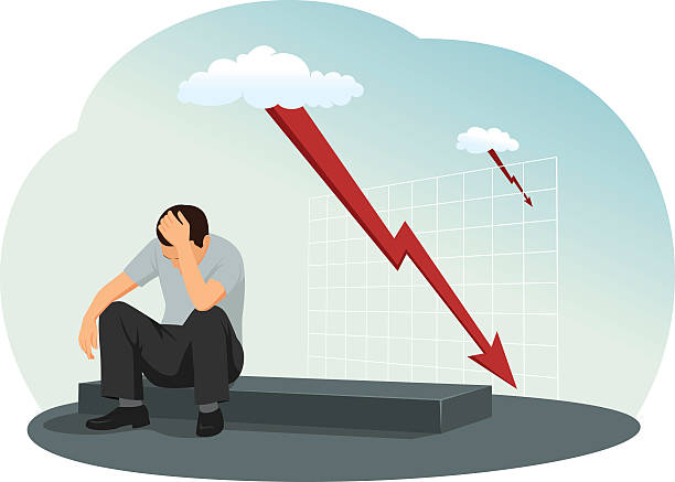 Desperate businessman Desperate businessman is sitting on the ground. A lightning bolt as a falling graph on the background. depreciation stock illustrations