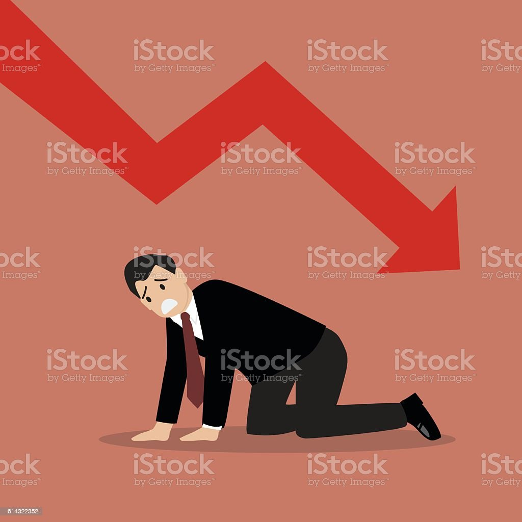 Desperate businessman with graph down vector art illustration