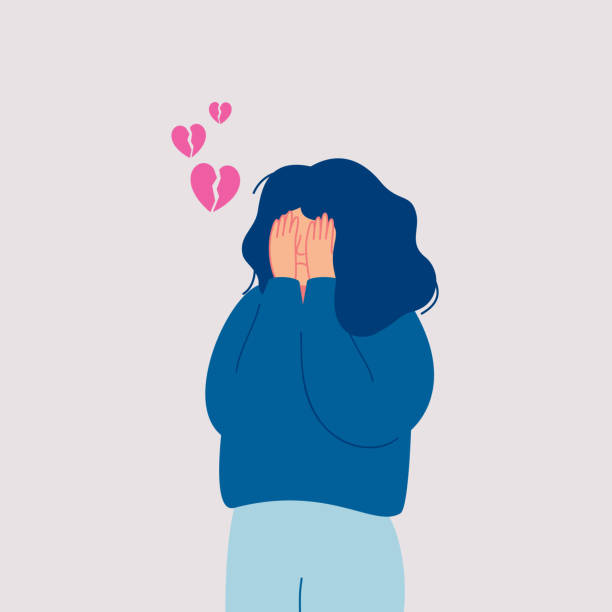 Desperate sad young woman with broken heart cries covering her face with her hands. Desperate sad young woman with broken heart cries covering her face with her hands. Hand drawn style vector design illustrations grief stock illustrations