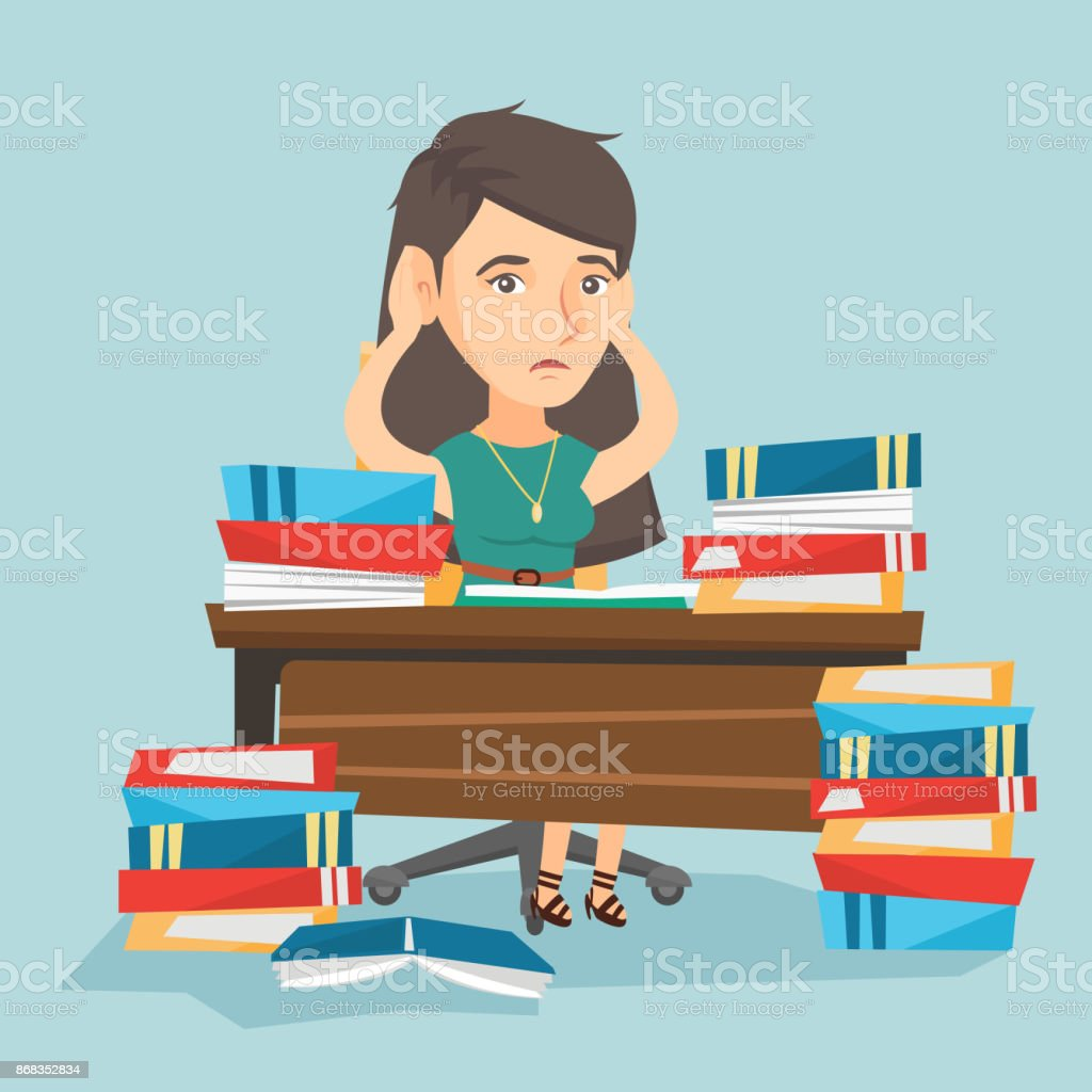 Desperate student studying with many textbooks vector art illustration
