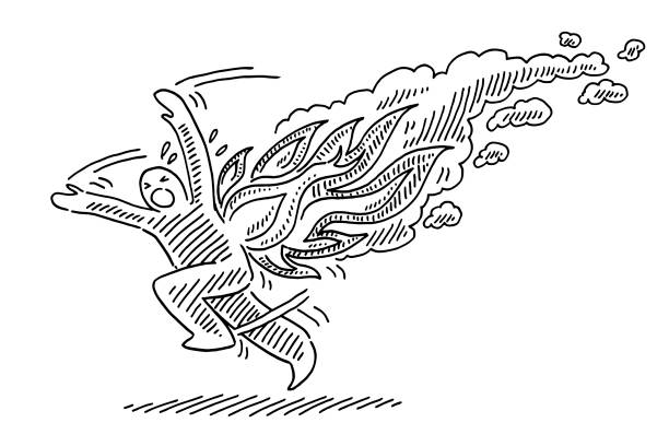Desperate Stuntman On Fire Running Away Drawing Hand-drawn vector drawing of a Desperate Stuntman On Fire Running Away. Black-and-White sketch on a transparent background (.eps-file). Included files are EPS (v10) and Hi-Res JPG. running stock illustrations